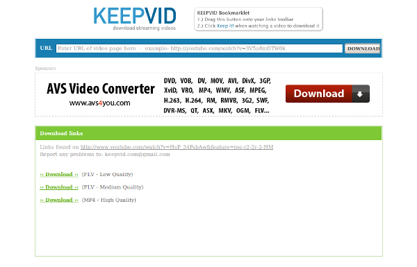 KeepVid: descarga videos desde Youtube, Google video y más